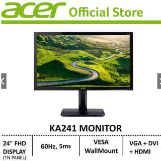 *FREE REGISTERED DELIVERY*Acer KA241 FHD TN Monitor (1920x1080)