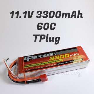 LPB 11.1V 3300mAh LiPo Battery, 3S, 60C, 3 cells, T Plug, 137x44x22mm, 286g. Code: LPB3S60C3300