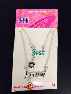 Necklaces best friends pendant silver chain 友誼 項鍊 頸鍊 銀鍊 出口飾品 friendship 禮物