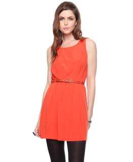 Forever 21 Orange Belted Pleated Dress #FEBP55