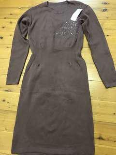 Brown dress with crystals
