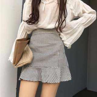 Checkered Ruffle Skirt