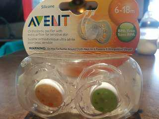 AVENT ORTHODONTIC PACIFIER 6-18 MOS (pack of 2) ON SALE!!❤