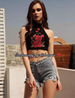 Floral Embroidery Ribbed Halter Crop Top