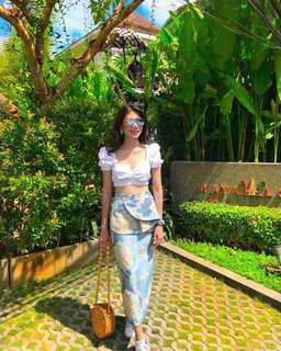 Gianella Ruffles Brocade Skirt