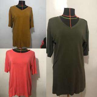 Lot of 3 uniqlo tunic / blouse