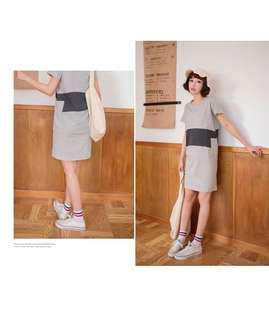 灰色高含棉漸層拼色側口袋設計洋裝