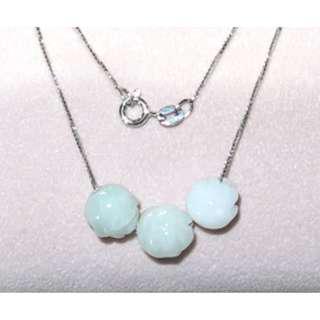 天然真玉(A) 玉玫瑰珠S925純銀意大利頸鏈 Jade S925 silver necklace