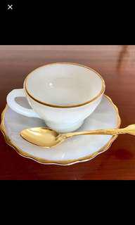 Fire King Tea set with Gold plated spoon