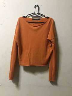 Orange Sweater Crop Top