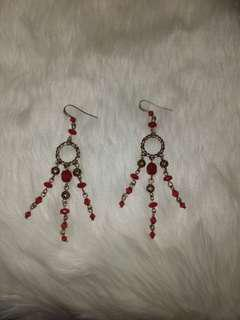 Red Dangling Beaded Earrings