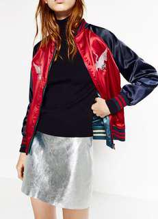 zara embroidered reversible bomber limited edition