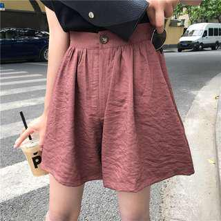 Rust red high waisted shorts