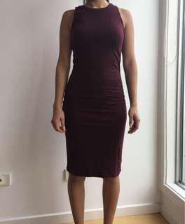 Cotton on burgundy dress