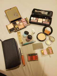 HARDLY USED BULK MAKEUP LOT FREE SHIPPING - Travel kits, eyeshadows, lips, powders etc