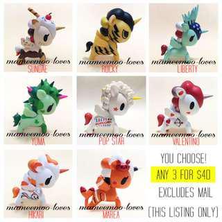BN Tokidoki Series 3, 5, 6 Assorted Unicorno Valentino, Liberty, Rocky, Pop Star, Sundae, Hikari & Mermicorno Series 1 Marea