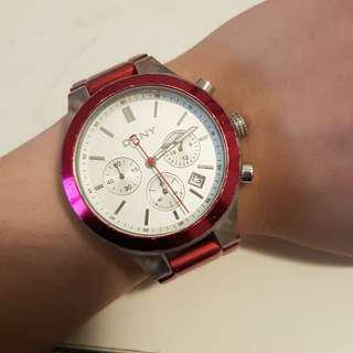 Authentic DKNY Red Metal Watch