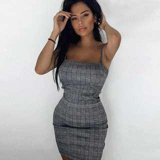 CHECKED BODYCON DRESS