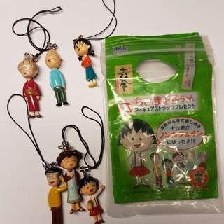🚚 日本 十六茶 櫻桃小丸子 小丸子家族 吊飾組 公仔 擺飾
