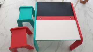 Toddlers wooden table and stools