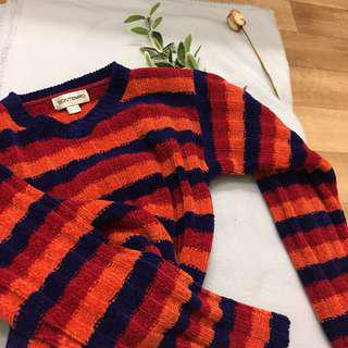 Vintage pattern striped thick jumper