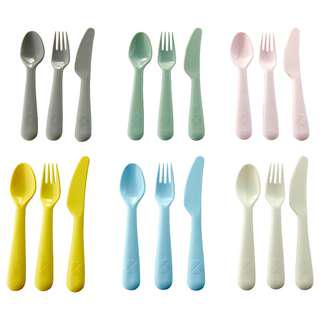 IKEA KALAS 18-piece cutlery set, mixed colours assorted colours NEW