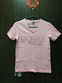 """🚚 """"淺粉小象V領短袖T恤""""女版S號"""