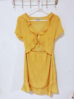 Tie front dress yellow mustard with polka dots