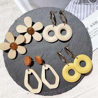 BNIB Wooden Flower Earrings