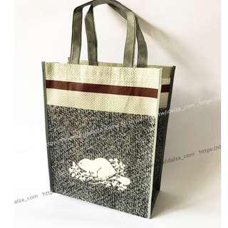 Idalza* Roots 加拿大 VIP 專櫃贈品 環保袋 購物袋 手提袋 肩背包 海狸 芝麻灰 -中