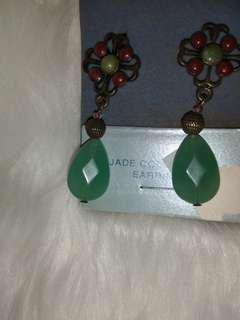 Vintage Design Jade Teardrop Earrings