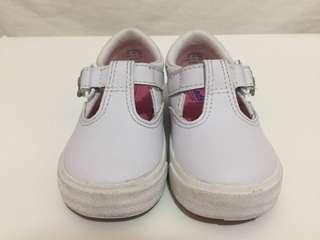 176ffff5abb8e0 (Kids) KEDS Daphne T strap white lea shoes