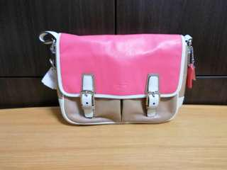 🚚 🎀 Pre Owned Coach Park Leather Color Block Crossbody Flap Handbag F23383