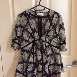 Zimmermann Pavilion Asymmetrical Embroidered Top Size 0