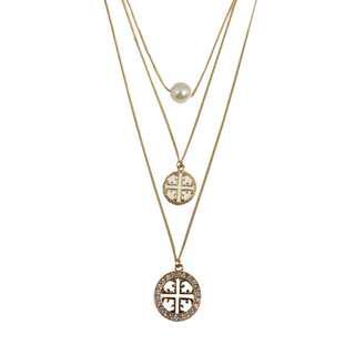 Ivy's Shop 艾薇小館 歐美系列 飾品 項鍊 毛衣鍊 長鍊 三段 珍珠 中國風 閃鑽