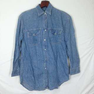 DKNY pearl snap button chambray western