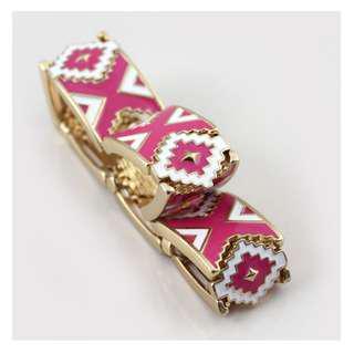 Ivy's Shop 艾薇小館 民族風 粉白色 花紋 彈力 手鐲 手鍊 手環