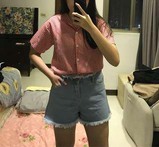 🚚 紅格子短袖襯衫