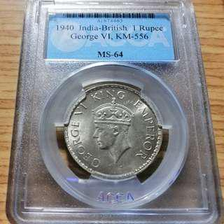 🚚 1940年喬治六世英屬印度盧比銀幣 ACCA 鑑級幣MS64 高分少見