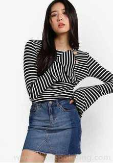 NEW Factorie Striped Flare-sleeved Shirt