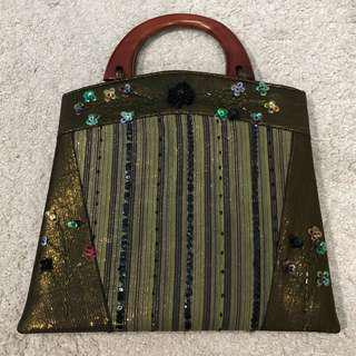 Ethnic bag with wood handle