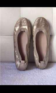 Gold with Glittered Toe Cap Ballet Flats