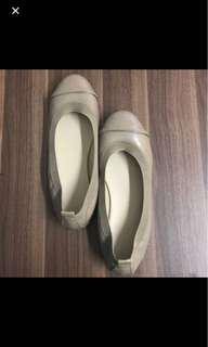 Taupe with Gold Guilded Toecap Ballet Flats
