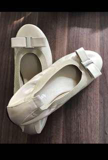 Nude Buckled Ribbon Ballet Flats