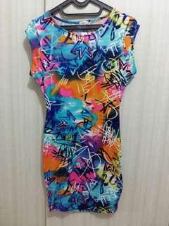 Spandex colorful mini dress
