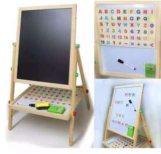 Double sided wooden easel board