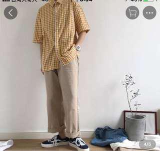 🚚 黃色格子短袖襯衫