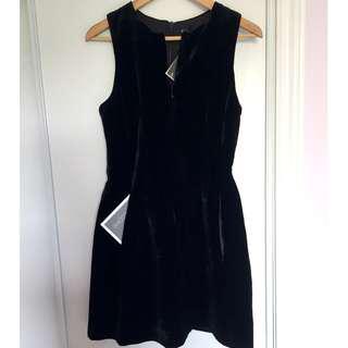 A|X Armani Exchange Black Velvet Tulip Cocktail Dress, size 4