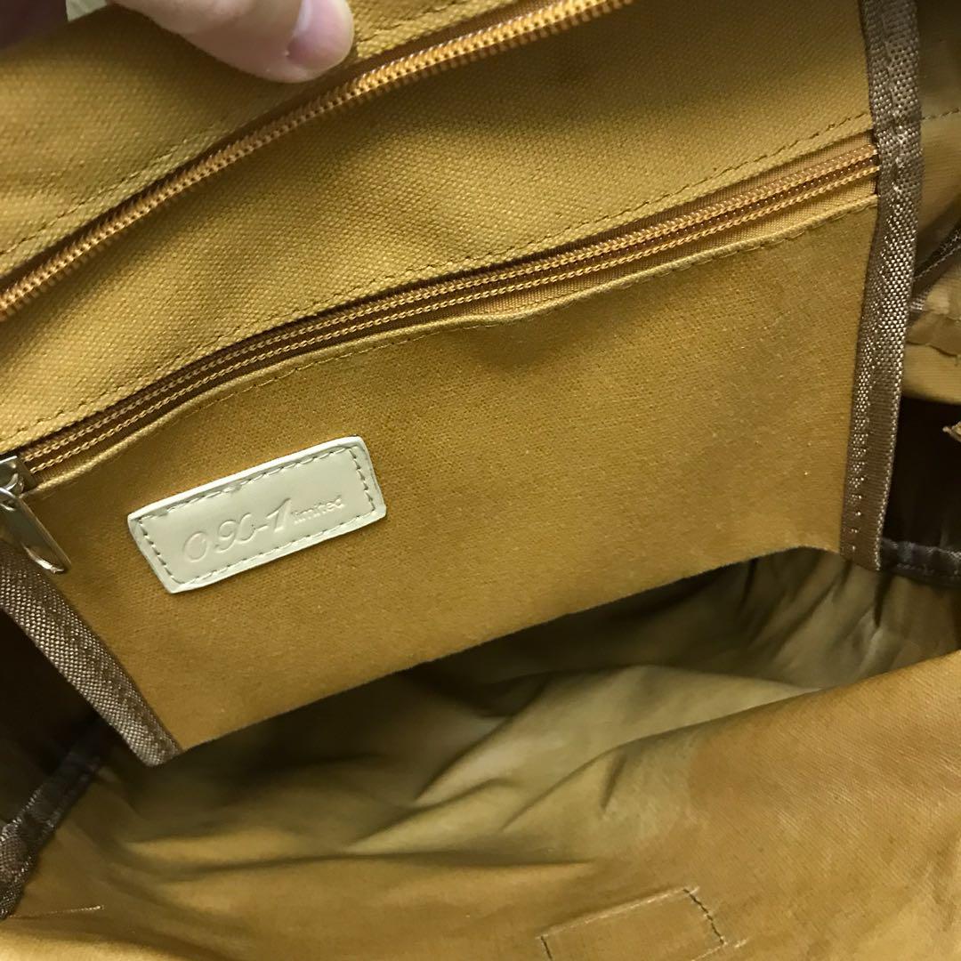 韓國 Virtual Galletto backpack 卡其黃啡色米色邊背包 多袋背囊 文青 出街 旅行 返工袋