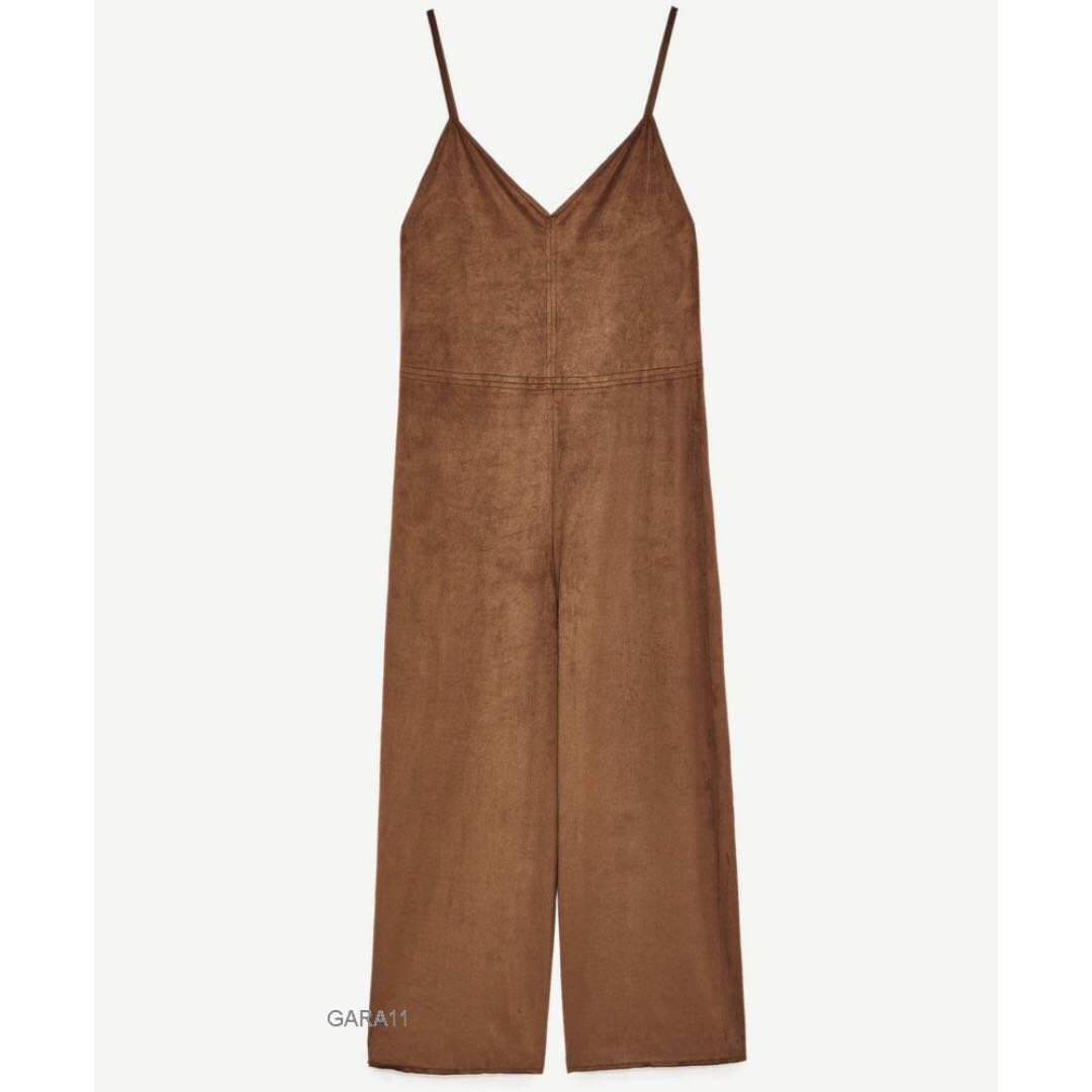 707686feb53 ✅ Zara Strappy Faux Suede Jumpsuit  PayWithBoost  OCT10